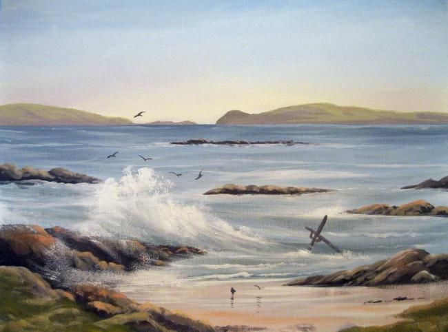 aughrisbeg beach 2011 - Painting,  16x20 in ©2011 by Cathal O Malley -            aughrisbeg beach co galway