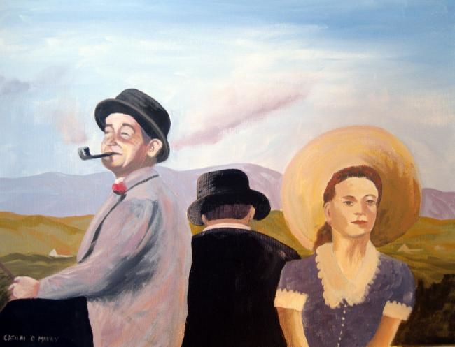 the courting scene  quiet man - Painting,  16x20 in ©2012 by Cathal O Malley -            quiet man film