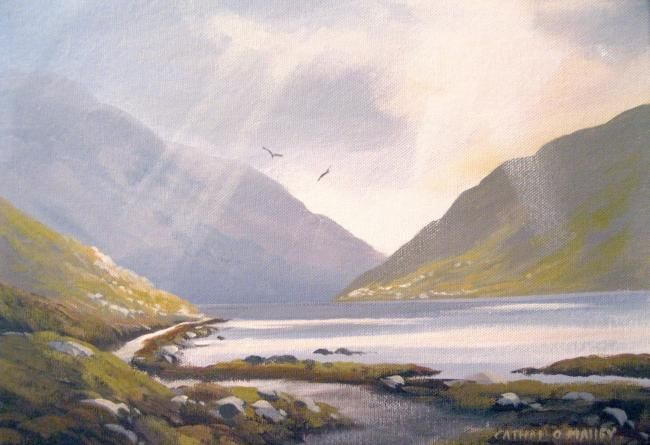 killary spring light - Painting,  10x14 in ©2012 by Cathal O Malley -            killary co galway painting