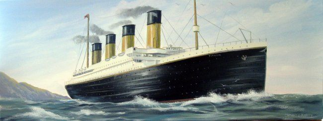 titanic,,leaving ireland - Painting,  32x12 in ©2012 by Cathal O Malley -