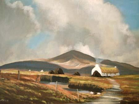 connemara cottage - Painting,  16x12 in ©2005 by Cathal O Malley -