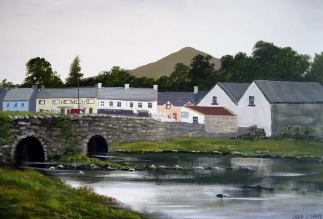 old bridge leenane - Painting,  30x20 in ©2012 by Cathal O Malley -            leenane village co galway
