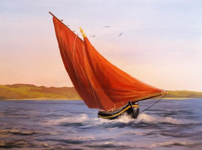 galway hooker fishing boat - Painting,  16x12 in ©2012 by Cathal O Malley -