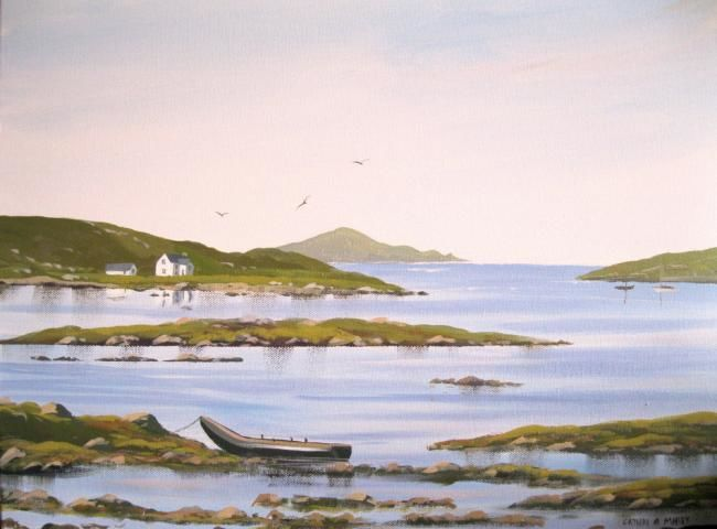 omey currach - Painting,  16x20 in ©2012 by Cathal O Malley -            painting of omey island