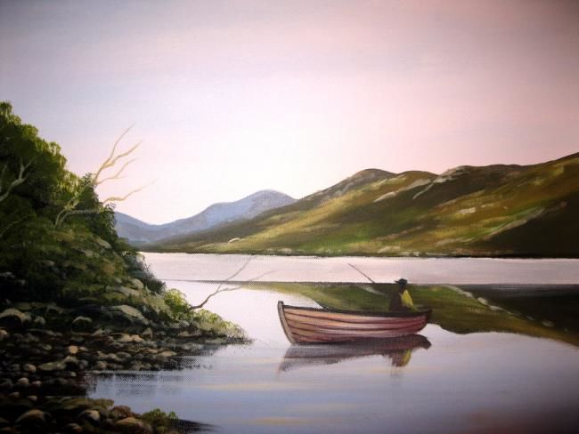 kylemore fishing - Painting,  24x18 in ©2012 by Cathal O Malley -            kylemore lake co galway ireland