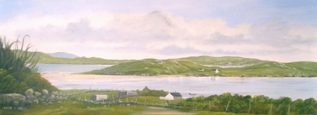 view of omey august - Painting,  30x12 in ©2012 by Cathal O Malley -            painting of omey island