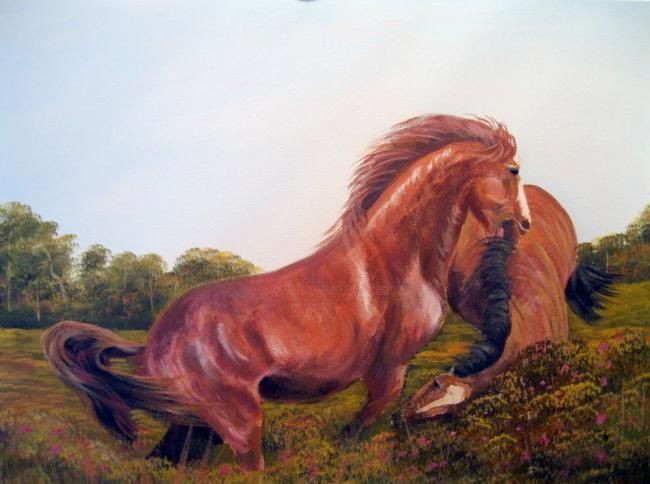 stallion fight - Painting,  24x18 in ©2012 by Cathal O Malley -            painting of stallions fighting