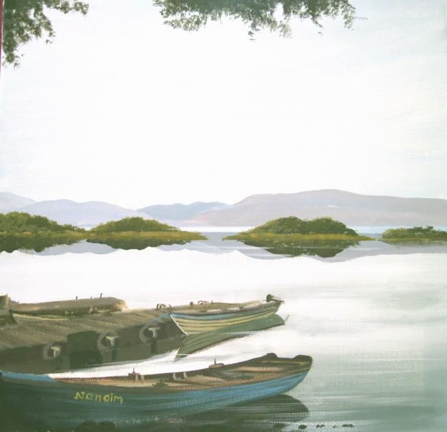 oughterard lake boats - Painting,  16x16 in ©2012 by Cathal O Malley -            oughterard lake boats co galway ireland