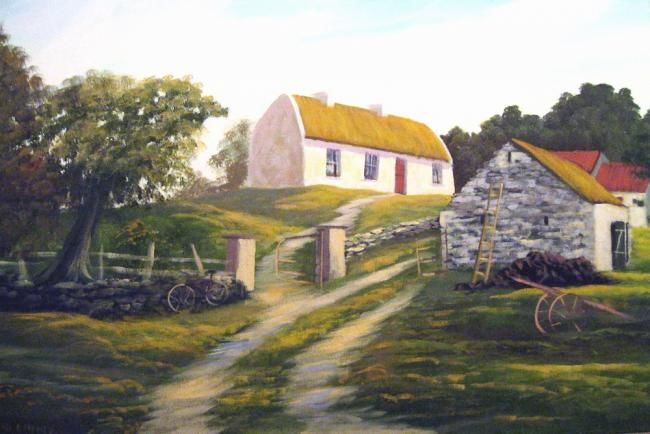 old galway cottage - Painting,  20x30 in ©2012 by Cathal O Malley -