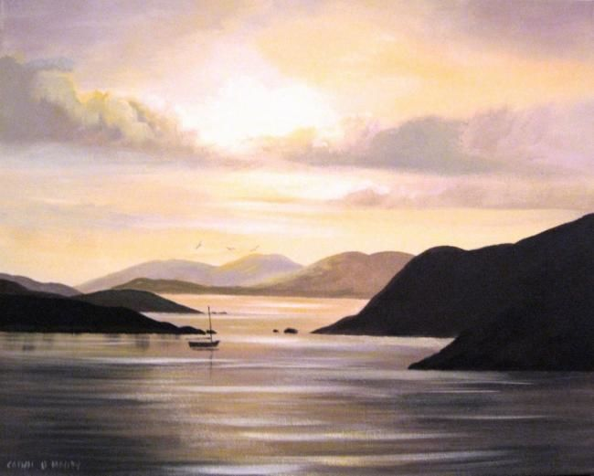 killary sunset sep - Painting,  16x20 in ©2012 by Cathal O Malley -