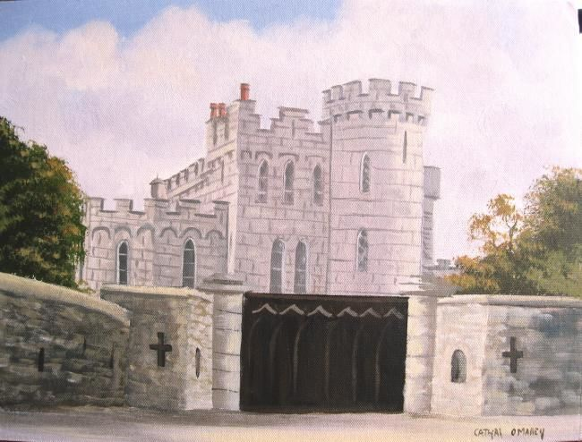 enyas castle - Painting,  16x12 in ©2012 by Cathal O Malley -            enyas castle dublin
