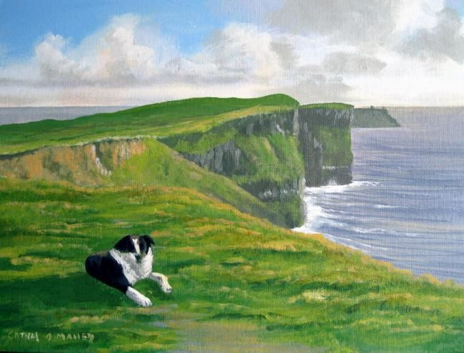 dog by the cliffs of moher - Painting,  16x12 in ©2012 by Cathal O Malley -
