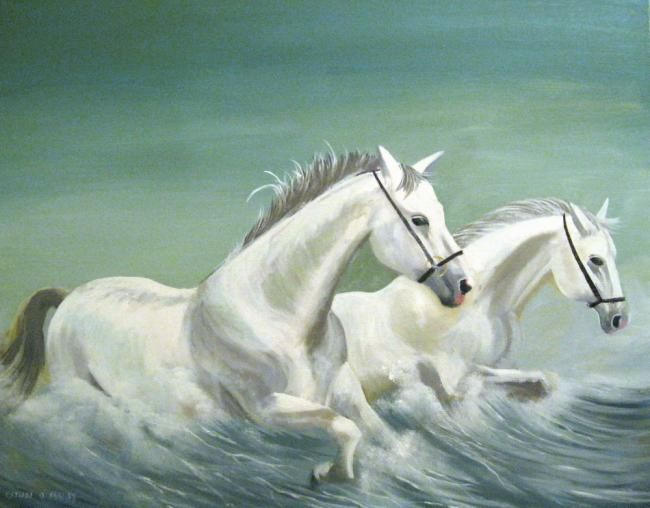 sea horses - Painting,  24x36 in ©2012 by Cathal O Malley -
