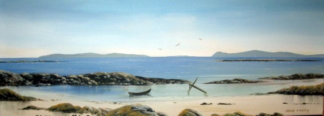 aughrisbeg beach 2012 - Painting,  32x12 in ©2012 by Cathal O Malley -