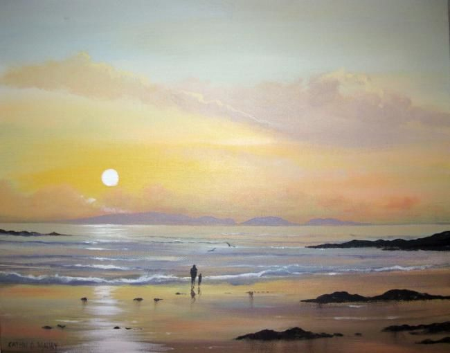 high island sunset - Painting,  20x16 in ©2012 by Cathal O Malley -