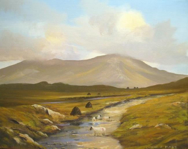 inagh valley sheep - Painting,  16x20 in ©2012 by Cathal O Malley -