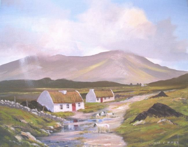 maam valley cottages - Painting,  16x20 in ©2013 by Cathal O Malley -