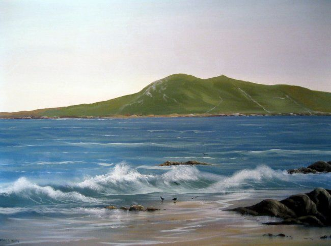 cleggan waves - Painting,  40x30 in ©2013 by Cathal O Malley -            cleggan head co galway