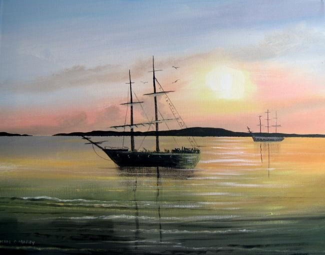tall ships bantry co cork - Painting,  16x20 in ©2013 by Cathal O Malley -