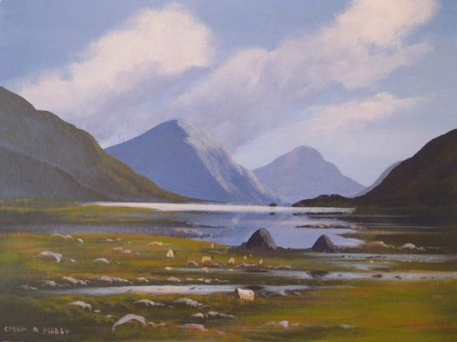connemara evening - Painting,  16x12 in ©2013 by Cathal O Malley -