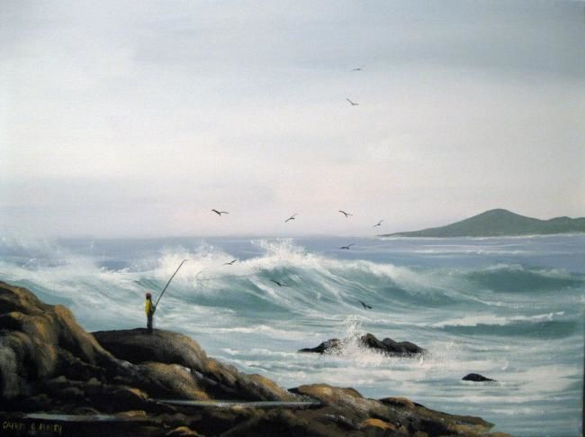 the fishing rock  cruagh island - Painting,  24x18 in ©2013 by Cathal O Malley -