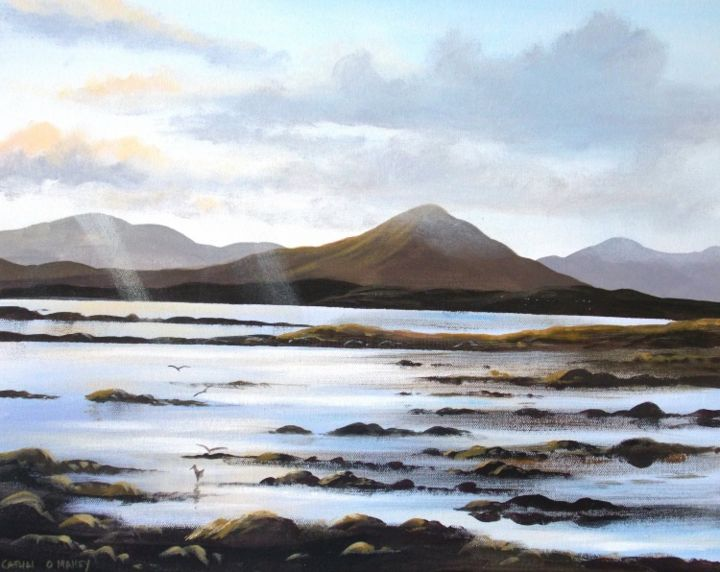 glynsk-evening-light.jpg - Painting,  16x2x20 in ©2013 by Cathal O Malley -            glynsk  connemara