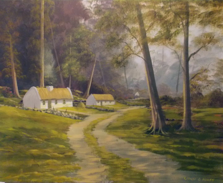forest cottages - Painting,  16x2x20 in ©2013 by Cathal O Malley -            cottage, ireland, connemara