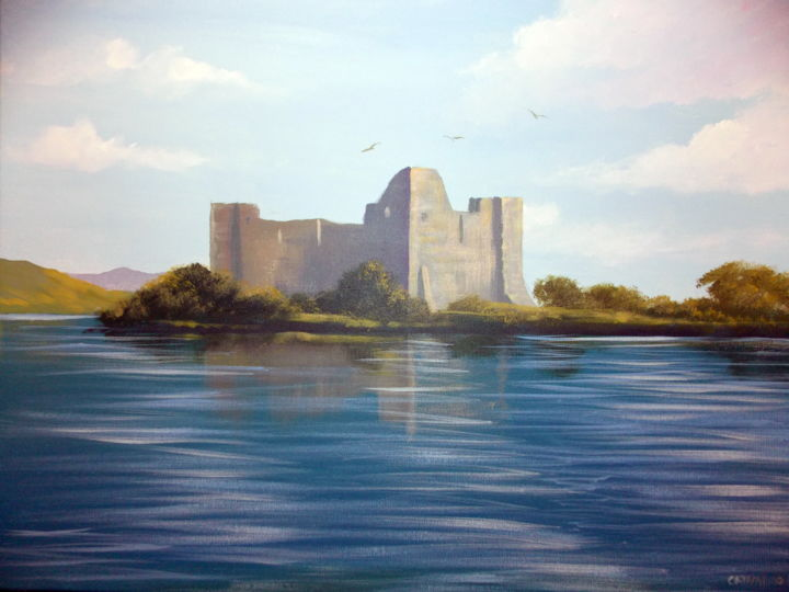 hens castle lough corrib - Painting, 2x16x20 in ©2015 by Cathal O Malley -