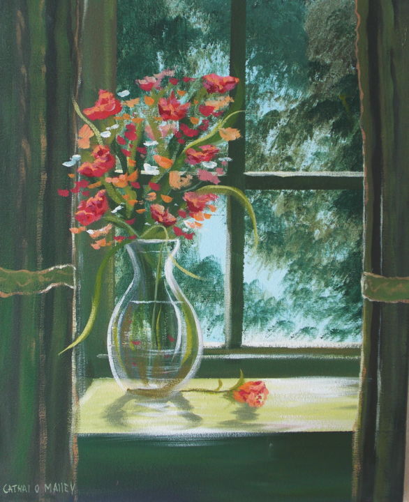 Flowers in the window cathal o malley flowers in the window painting 16x2x20 in 2015 by cathal o malley izmirmasajfo
