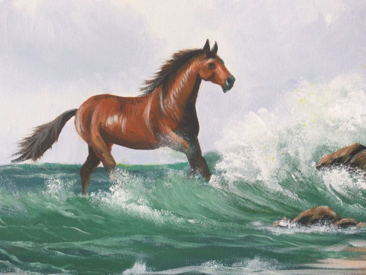 breaking waves - Painting,  16x2x20 in ©2015 by Cathal O Malley -                                                            Realism, Canvas, Seascape, horse, waves, rocks  sun  green  tan
