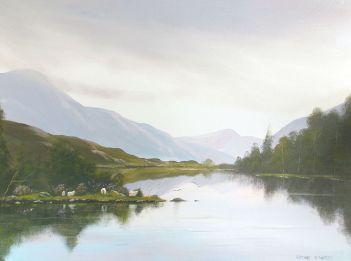 connemara morning - Painting,  18x24x2 in ©2016 by Cathal O Malley -                                                            Land Art, Canvas, Landscape, connemara, lake, water, ireland, west, sheep, mountains