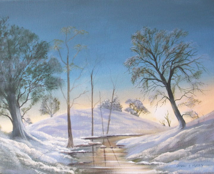 winter snowfall - Painting,  16x20x2 in ©2016 by Cathal O Malley -                                                            Land Art, Canvas, Landscape, snow, winter, light, water, trees