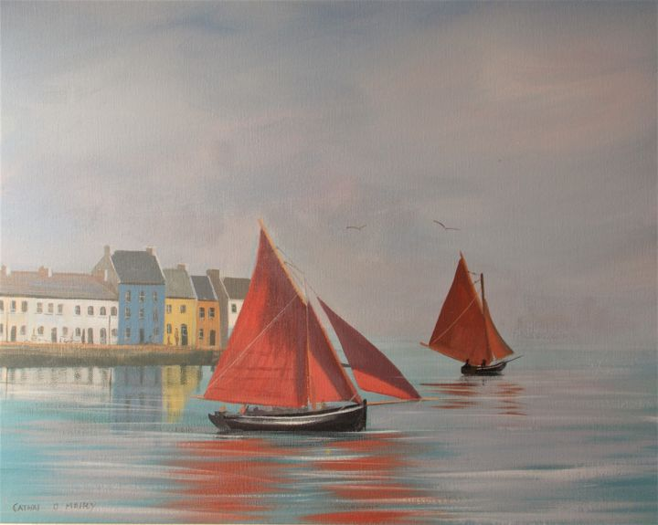 the claddagh boats - ©  galway, hookers, boats, red, reflections Online Artworks