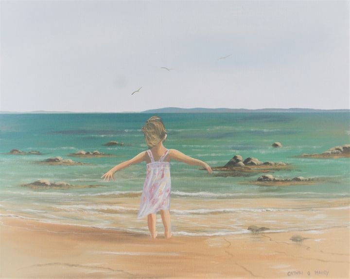 summer-days - Painting,  16x20x2 in ©2017 by Cathal O Malley -                                                            Land Art, Canvas, Seascape, beach, girl, water, sea