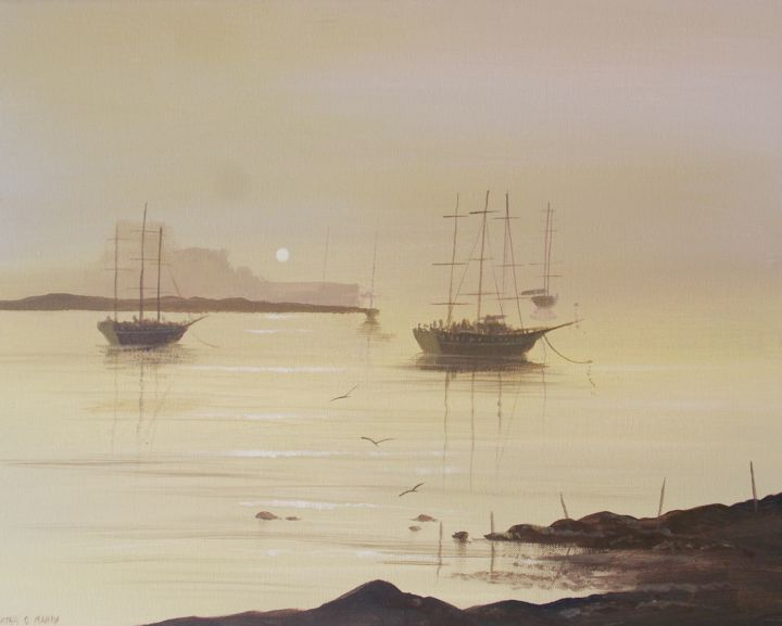 ships in cobh - Painting,  16x20x2 cm ©2017 by Cathal O Malley -                                                            Land Art, Canvas, Sailboat, cobh, cork, ships, art, ireland