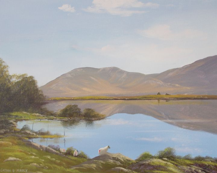 sheep in inagh valley - Painting,  16x20x2 in ©2017 by Cathal O Malley -                                                            Land Art, Canvas, Landscape, connemara, sheep, art, painting, inagh, valley, ireland, water, mountains