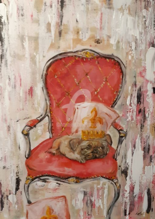petit prince - Painting,  31.5x23.6x0.8 in, ©2020 by Catherine Cabé (CAT.) -                                                                                                              Animals, chien carlin