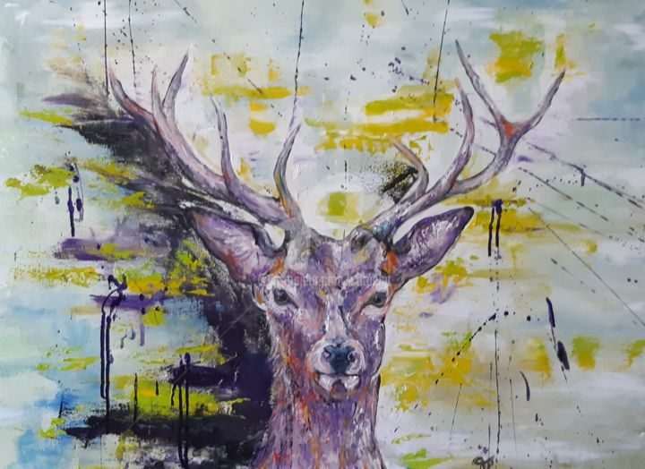 Balle perdue - Painting,  23.6x31.5x0.8 in, ©2020 by Catherine Cabé (CAT.) -                                                                                                                                                                                                                                                                                                                  Expressionism, expressionism-591, Animals, cerf peinture moderne, cerf en couleurs, huile encre cerf