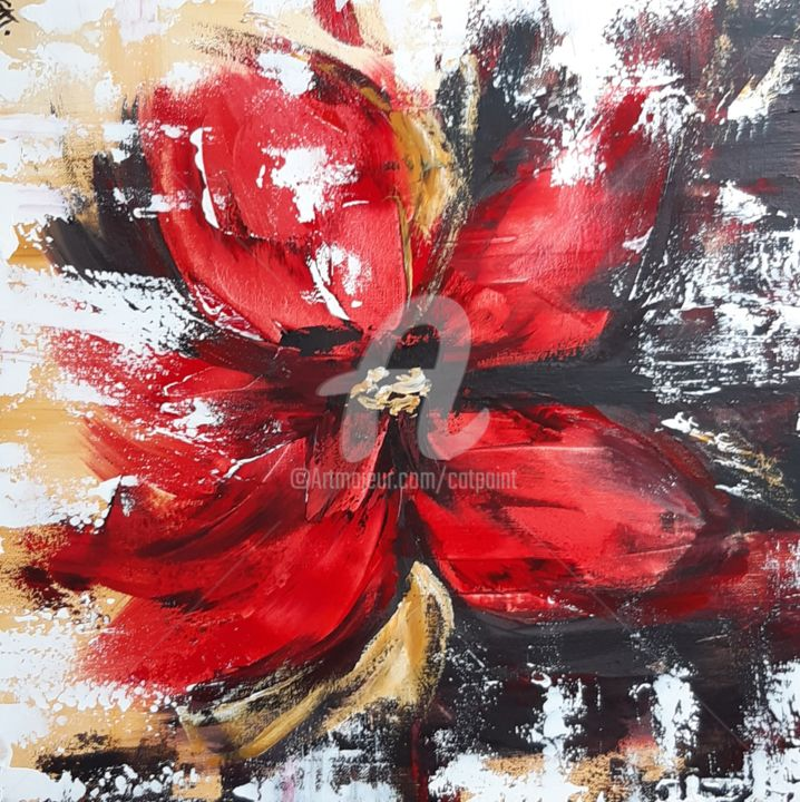 RED FLOWER - Painting,  19.7x19.7x2 in, ©2020 by Catherine Cabé (CAT.) -                                                                                                                                                                                                                                                                                                                                                              Abstract, abstract-570, Flower, peinture abstraite fleur, fleur rouge, pavot, coquelicot