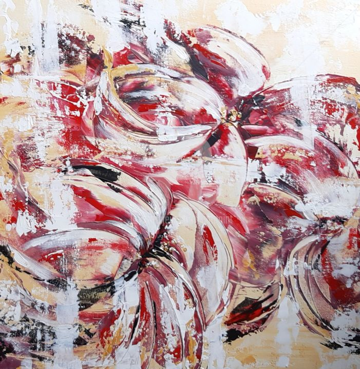 Turbulence - Painting,  19.7x19.7x2 in, ©2019 by Catherine Cabé (CAT.) -