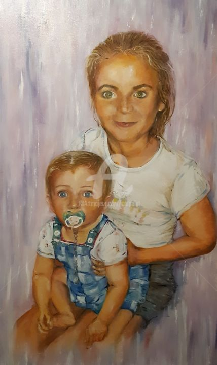 pitchounette et son petit frère - Painting,  45.3x29.5x0.8 in, ©2020 by Catherine Cabé (CAT.) -                                                                                                                                                                          Figurative, figurative-594, portrait enfant