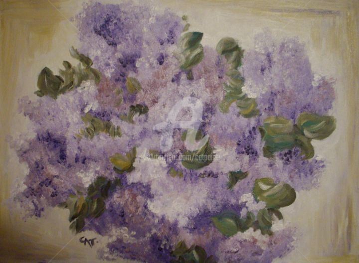 BRASSEE DE LILAS - Painting,  11.8x15.8 in, ©2010 by CAT. -                                                              BRASSEE DE LILAS.tableau huile sur chassis toile;purple lilac