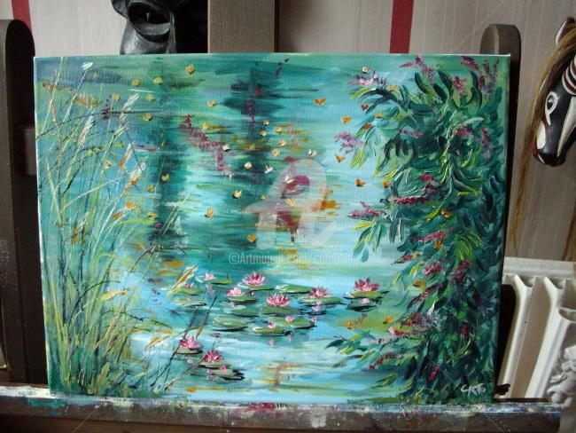 LILY - Painting,  11.8x15.8 in, ©2010 by CAT. -                                                                                                                                                                                                                                              LILY.Huile sur chassis toilé; paysage:le bord d'un etang, fleurs, papillons et nénuphars, flowers, butterfly&water lily