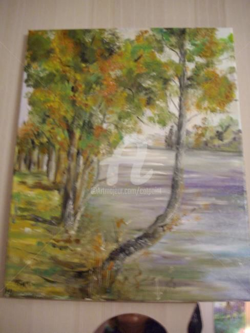 BORD DE SEINE VERS ANDRESY - Painting,  18.1x15 in, ©2010 by Catherine Cabé (CAT.) -                                                              BORD DE SEINE VERS ANDRESY