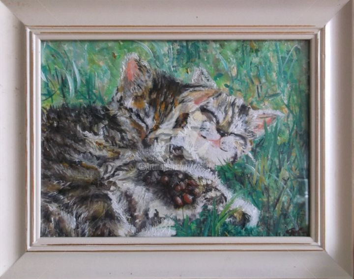 LES FRANGINS - Painting,  6.7x9.1 in, ©2016 by CAT. -                                                                                                                                                                                                                                                                                                                                                                                                                                                          Figurative, figurative-594, Other, Animals, Cats, peinture huile chatons, peinture chats, chatons herbe oil, oil little cats