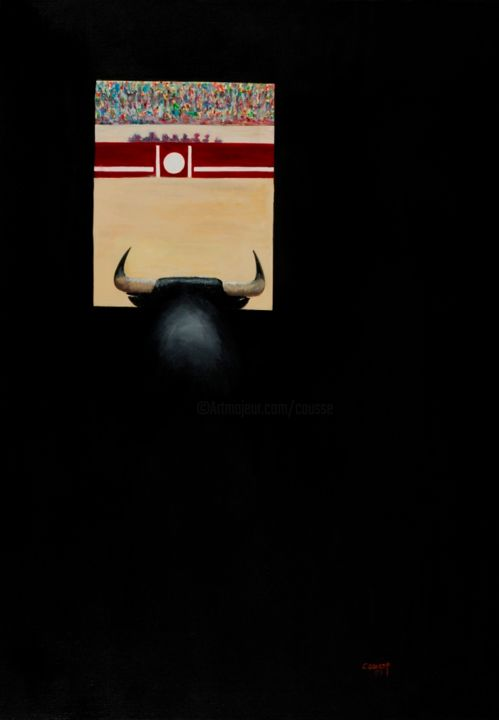 LUMIERE .jpg - Painting,  36.2x25.6 in, ©2018 by Jean Claude Causse -                                                                                                                                                                                                                                                                                                                      Figurative, figurative-594, Other, Animals, TORO, TAUROMACHIE