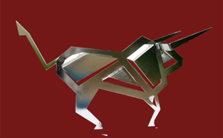 toro-inox-uni.jpg - Sculpture,  10.6x18.9 in, ©2013 by Jean Claude Causse -                                                                                                                                                                                                  sculpture toro, tauromachie, corrida, sculpture métal