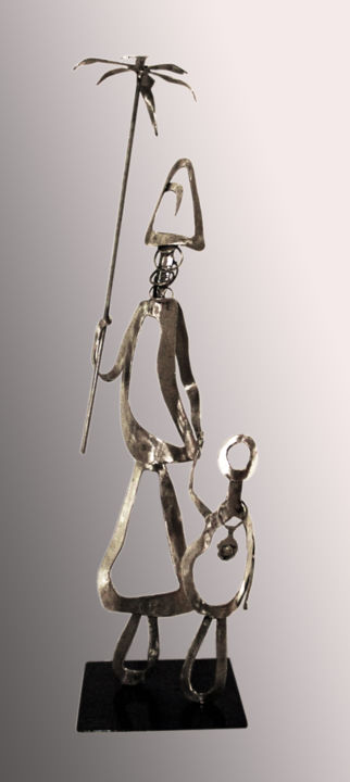 promenada.jpg - Sculpture,  57x18x15 cm ©2015 by Jean Claude Causse -                                                        Art Deco, Metal, Abstract Art