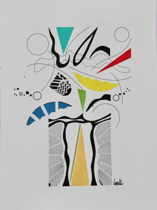 19048 - Drawing,  40x30 cm ©2019 by Pascal Cavalli -                        Abstract Art