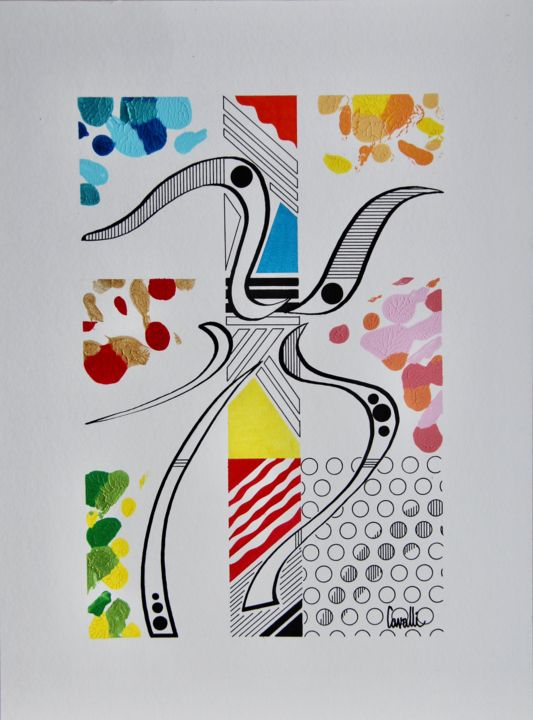 20001 - Drawing,  15.8x11.8 in, ©2020 by Pascal Cavalli -                                                                                                                                                                          Abstract, abstract-570, Abstract Art